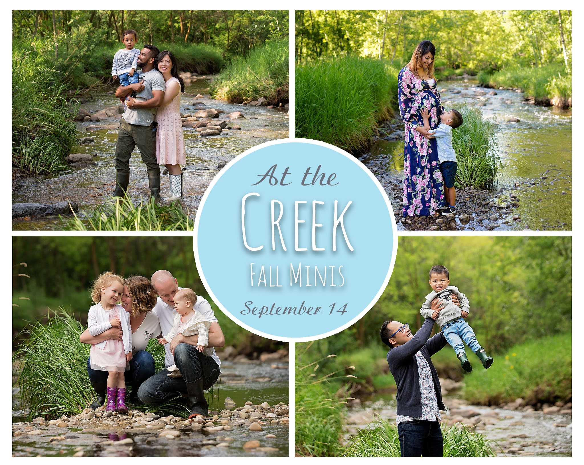Families in Edmonton pose together in a stream in the Millcreek Ravine.