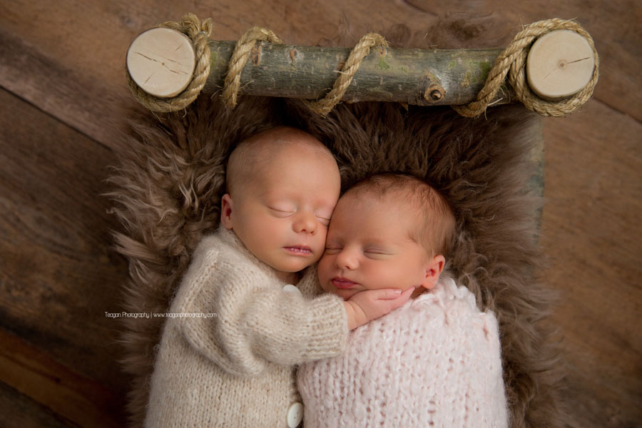 Sleeping Edmonton newborn twin babies