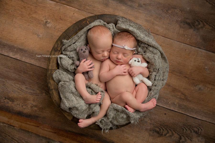 Sleeping Edmonton newborn twin babies