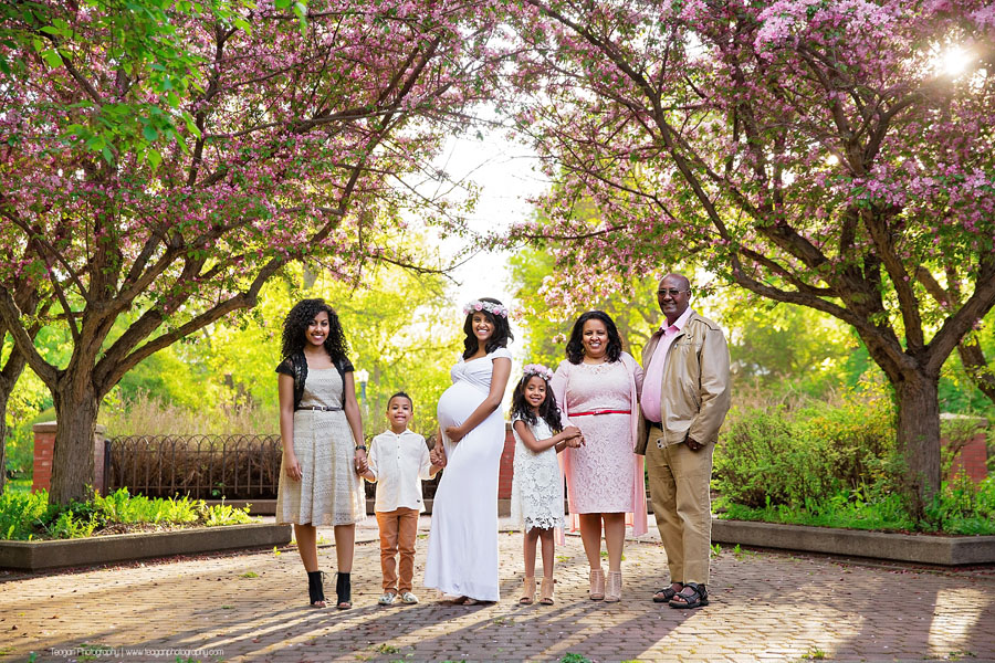 A pregnat woman poses for maternity photos with her family at an Edmonton river vallery park that has blossoms from cherry trees