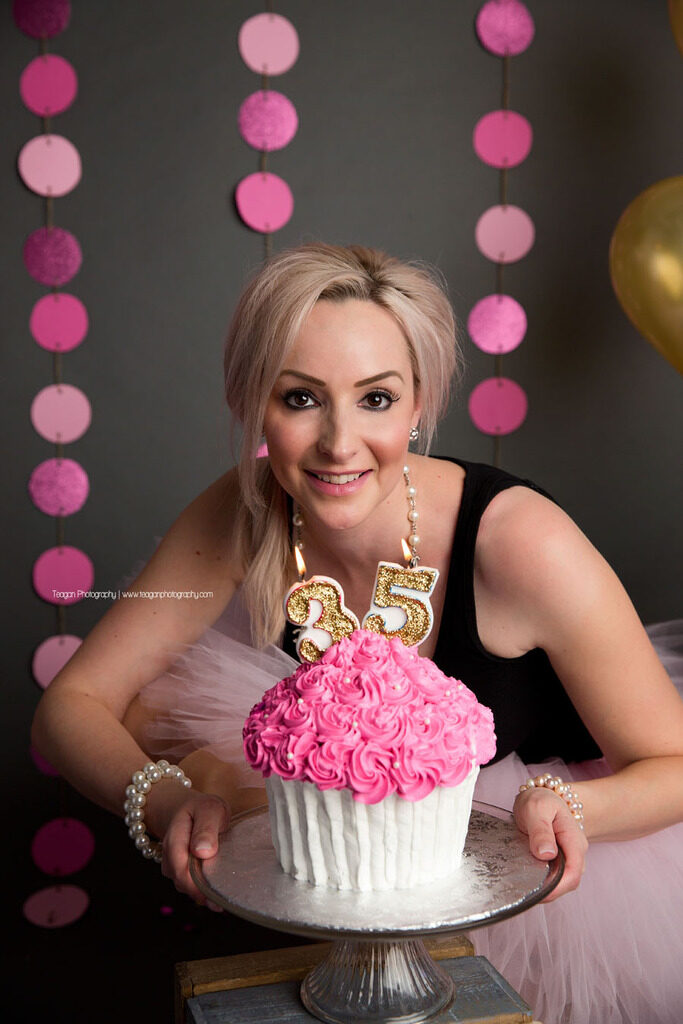 giant pink and white cup cake for an Edmonton woman's 35th birthday adult cake smash