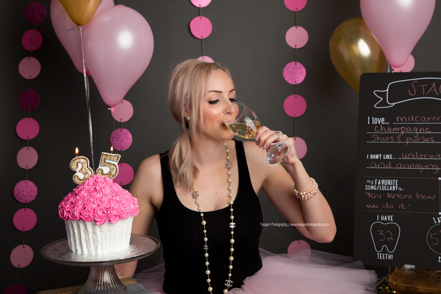 A champagne toast for a blonde woman on her 35th birthday in Edmonton