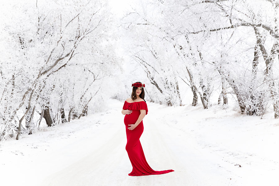 A pregnant woman wearing a red gown poses in a winter snow covered forest in Edmonton