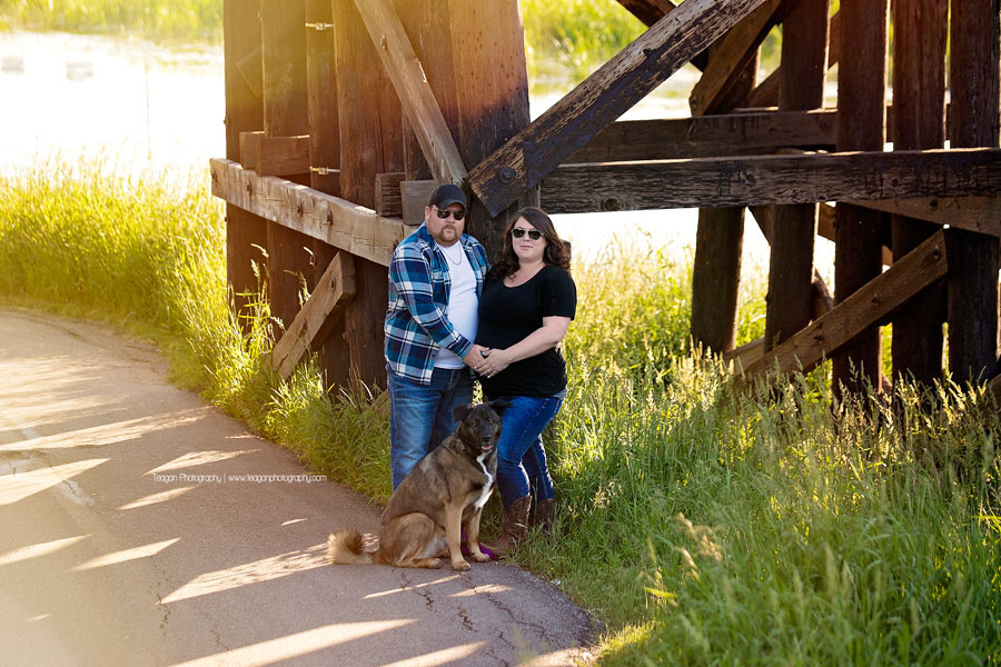 A couple expecting their first baby cuddle together in St Albert's Red Willow Park in the grasses near the  wooden train trestle bride